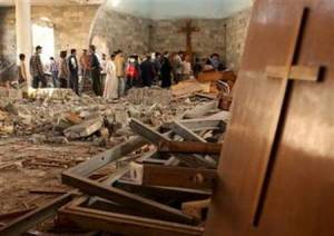 Believers meeting in a destroyed church in Iraq